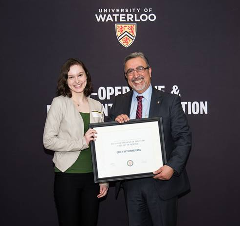Emily receives the Co-op Student of the Year 2017 award from UW president, Feridun Hamdullahpur